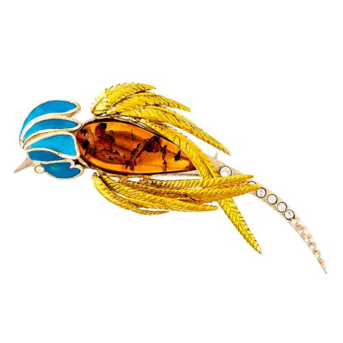Cognac Amber, Turquoise Enamel, Cubic Zirconias Goldplated Silver Parrot Br