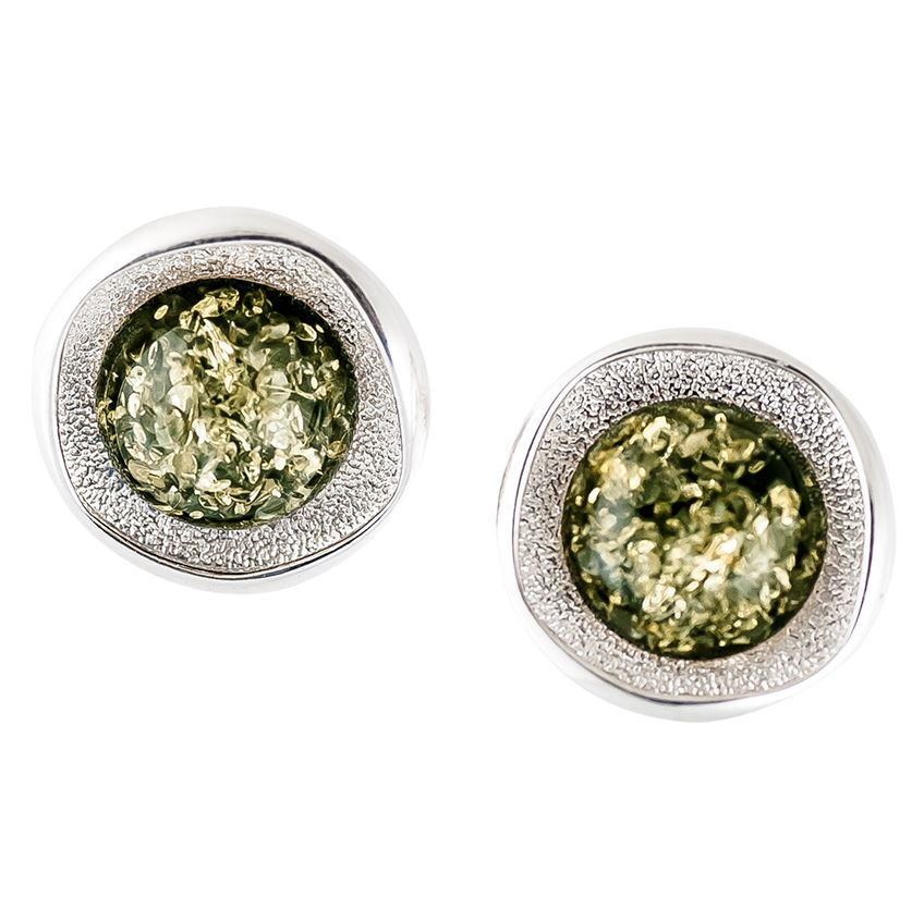Green Round Amber and Textured Sterling Silver Stud Earrings