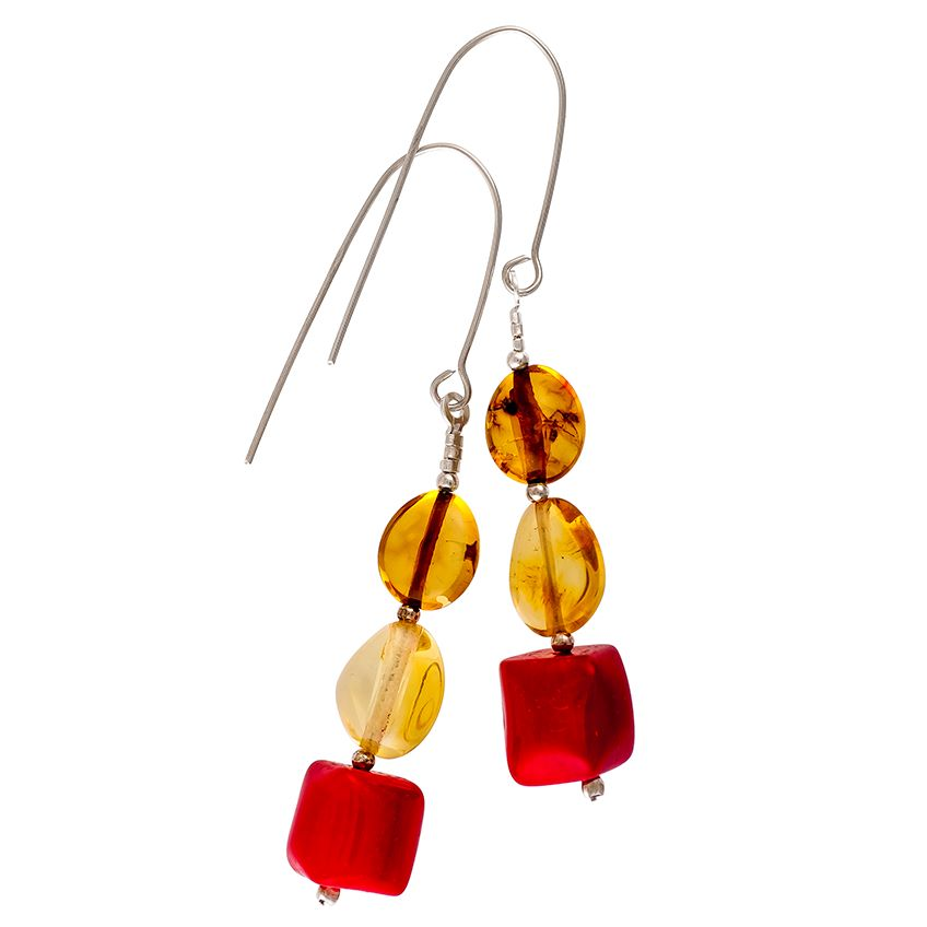 Lemon Amber and Bamboo Coral Drop Earrings