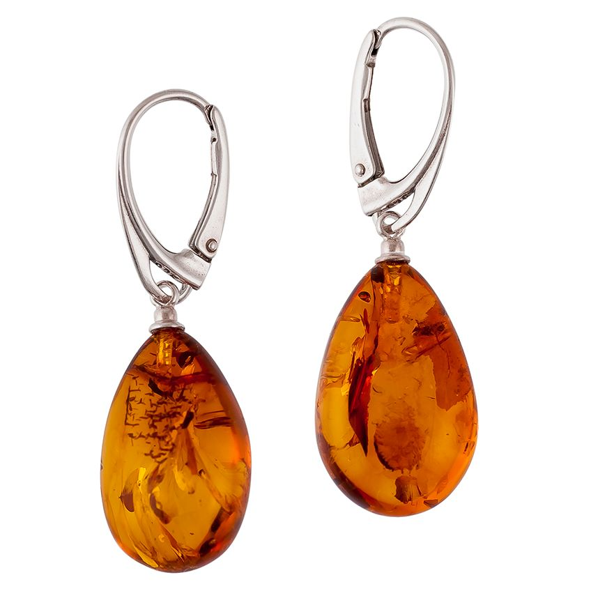 Cognac Amber Pear shape drop earrings with sterling silver safety fittings