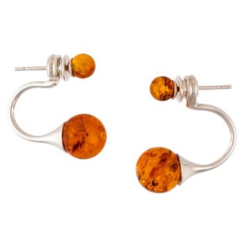 F012-Cognac Amber Double Beads Silver Stud Earrings