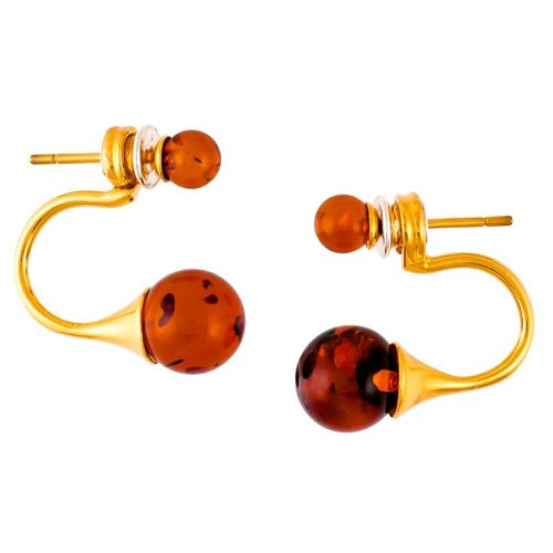 Cognac Amber Double Beads Goldplated silver stud earrings