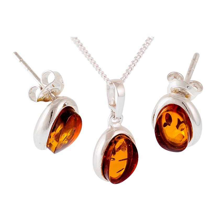 Oval Cognac Amber Silver Pendant & Stud Earrings GIFT SET