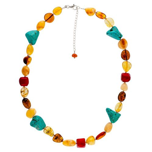 Multicolour Amber, Dyed Turquoise Howlite and Bamboo Coral Necklace