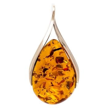 "Cognac Amber & Sterling Silver Pendant on 46cm/18"" curb chain"