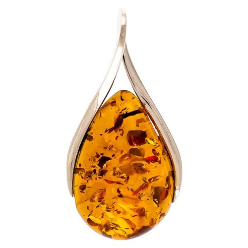 Cognac Amber & Sterling Silver Pendant on 46cm/18