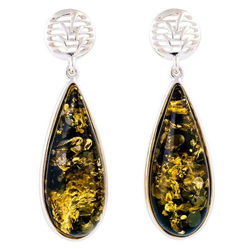 Pear shape Green Amber Drop Stud Earrings
