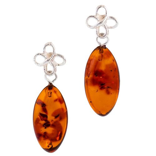 Cognac Amber Bow Drop Stud Earrings