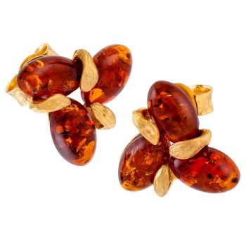Cognac Amber & Goldplated Tri-petal Flower Stud Earrings