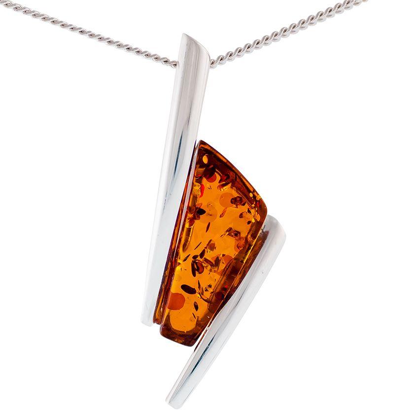 Cognac Amber Art Deco inspired Pendant