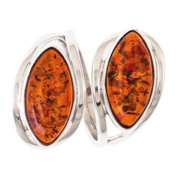 Cognac Amber Two Stones Ring