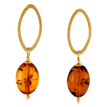 E055-Amber contemporary drop stud earrings