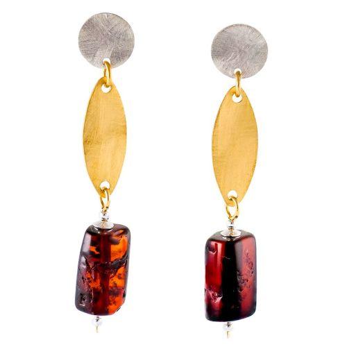 Dark Cognac Amber Drop Stud Earrings