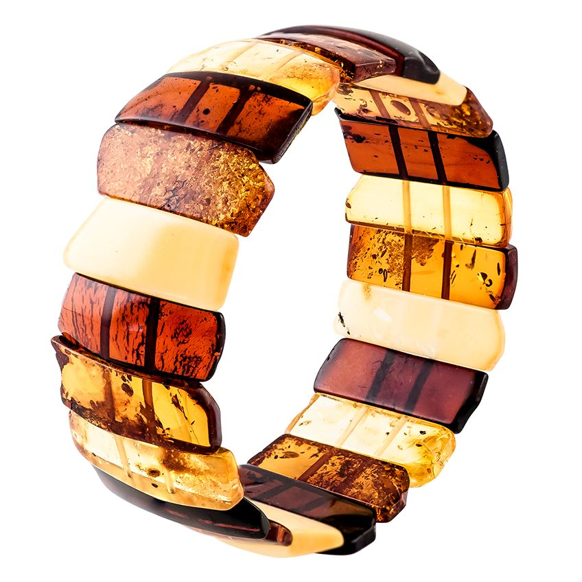 Multicolour amber stretch cuff bangle