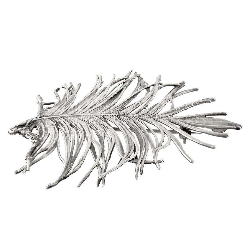 Natural Feather Silver Plated Brooch