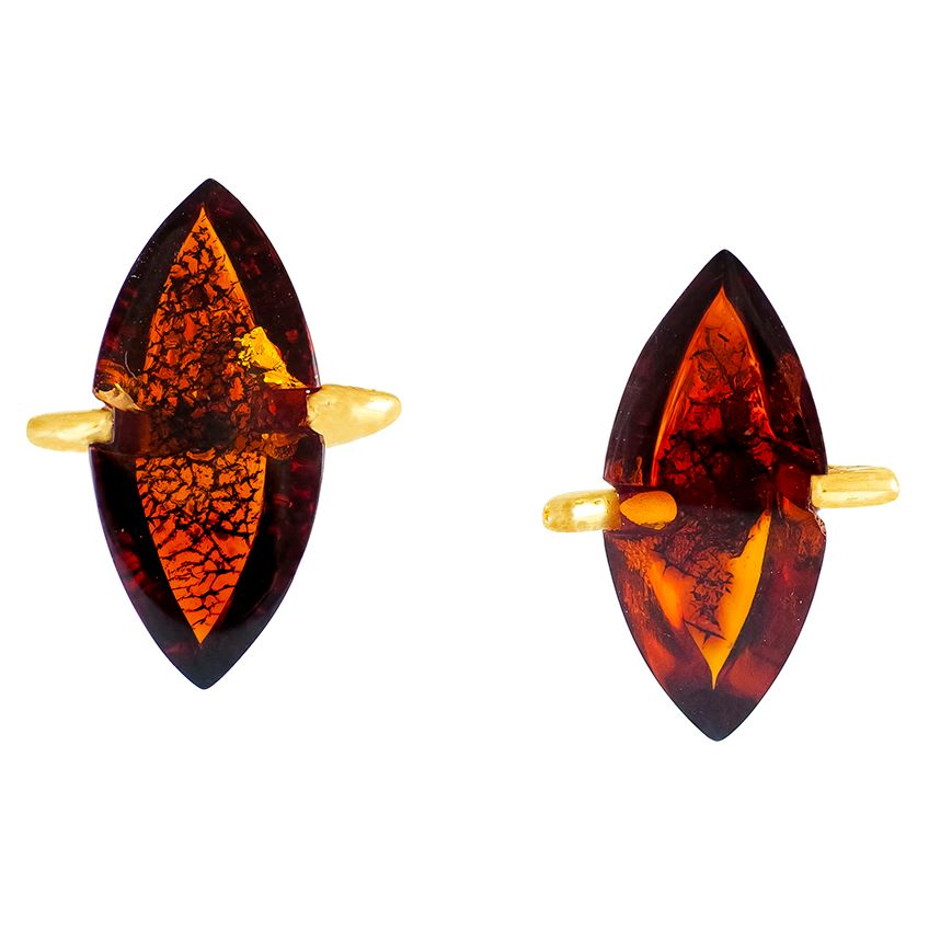 Marquise Amber Gold Earrings