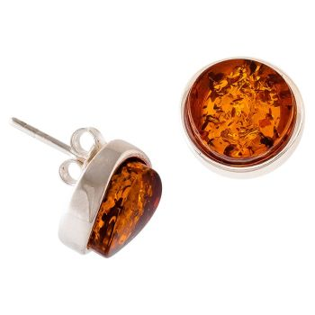 Amber-Silver Stud Earrings