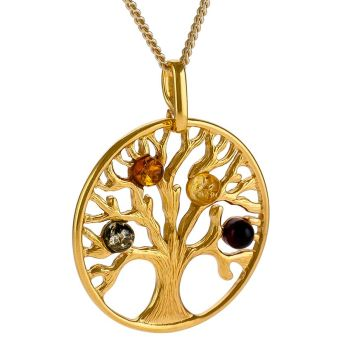 Goldplated silver and multicolour amber tree pendant