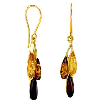 Gold-Silver Amber Earrings