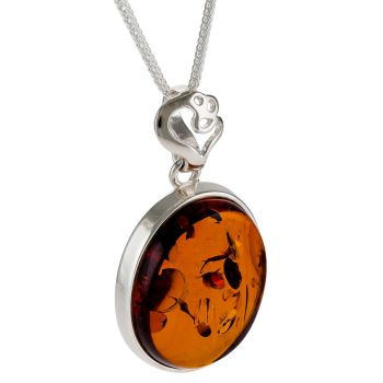 P048 - Amber and Sterling Silver Pendant
