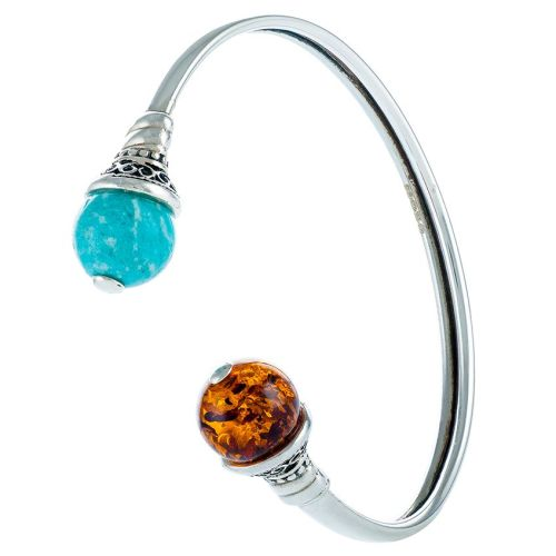 Cognac Amber and Amazonite Torque Bangle