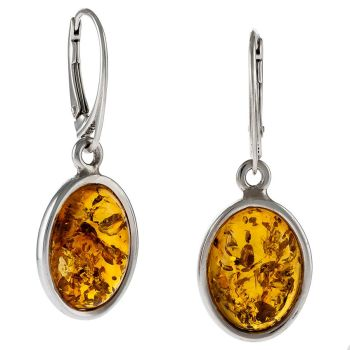 Cognac Amber Drop Earrings