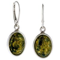 Green Amber Drop Earrings
