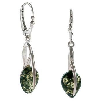 Green Tear shape Amber Drop Earrings