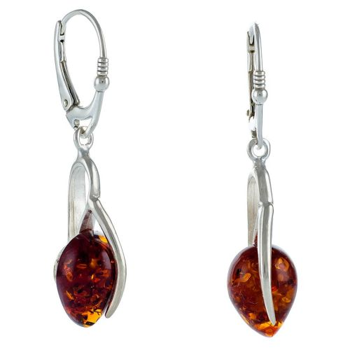 Cognac Tear shape Amber Drop Earrings