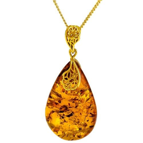 Cognac Amber Gold Plated Silver Pendant