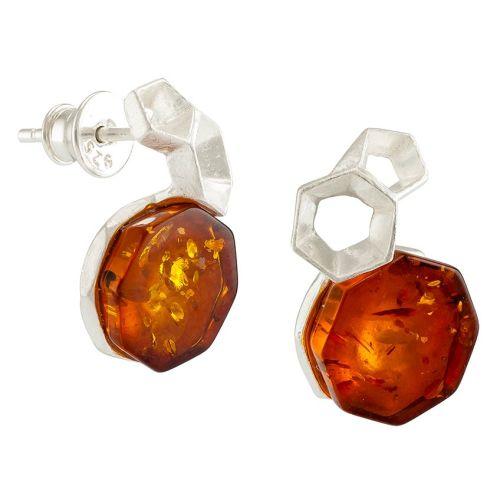 Hexagonal Cognac Amber Matt Silver Earrings