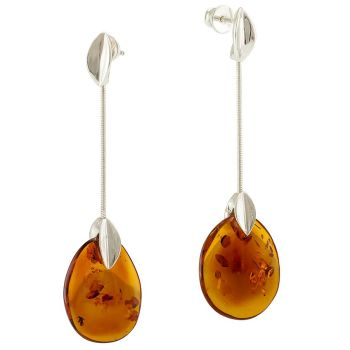 Cognac Amber Silver Earrings