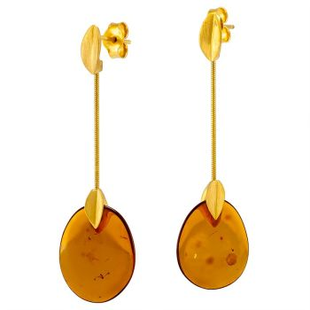 Cognac Amber Gold Plated Silver Earrings