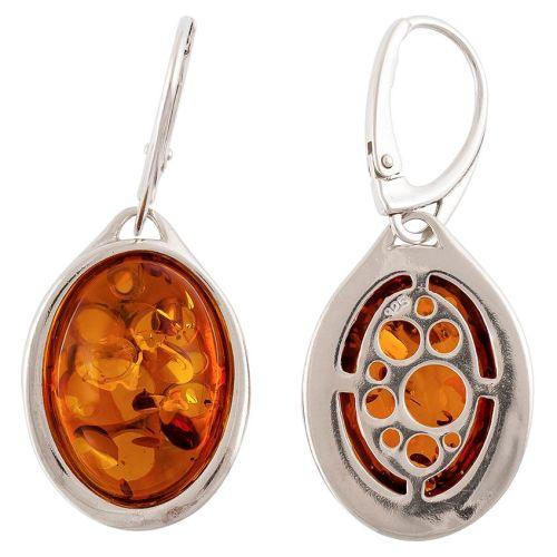 Oval pebble shape Cognac Amber Earrings