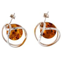 F022-Orb style silver and Cognac Amber Earrings