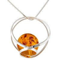 Orb style Sterling Silver Pendant with Cognac Amber ball