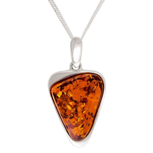 Amber and  Sterling Silver triangular shape Pendant