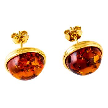 Cognac Amber Stud Gold Plated Earring