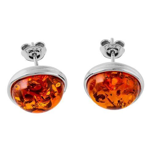 Round Cognac Batic Amber Silver Stud Earrings