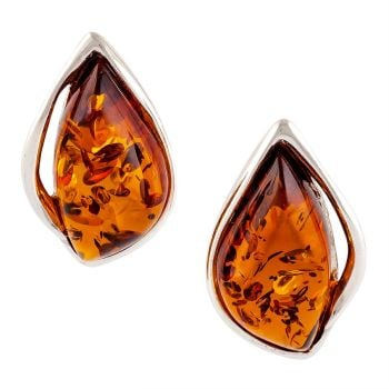 Cognac Amber marquise stud earrings