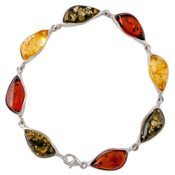 Tri-colour Amber and Silver Bracelet