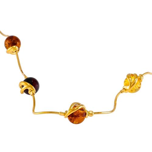 Amber and Gold Plated Silver 5 stone Necklace