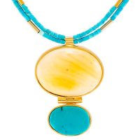 Amber and Turquoise Gold Plated Necklace