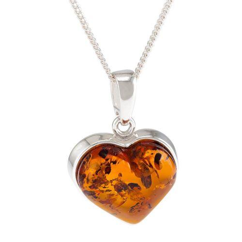 Cognac Amber Heart Pendant