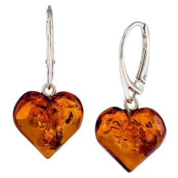 Amber Heart Drop Earrings