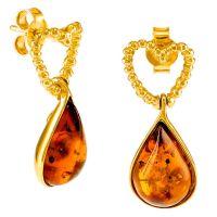 Amber Tear Drop Heart Earrings