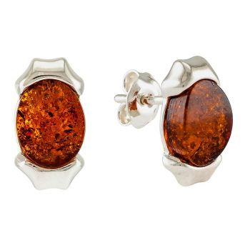 Amber and silver Stud Earrings