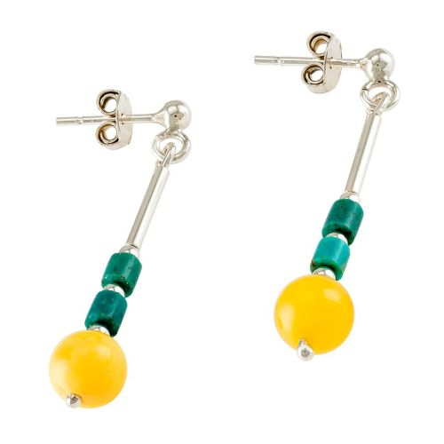 Amber, Turquoise and  Silver Earrings