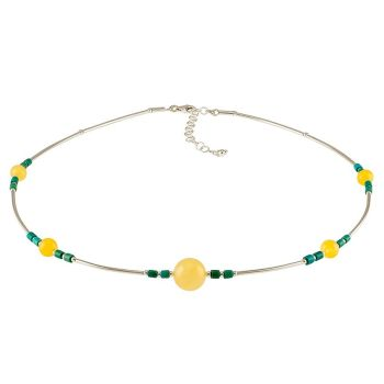 N025-Amber, Turquoise and Silver Collar