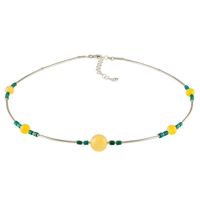 Amber, Turquoise and Silver Collar